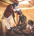 """""""Den lille Havfrue"""" Langelinje,København Billedhugger Edvard Eriksen. Reparation efter hærværk 1998 hvor hovedet blev savet af. Foto: Ruddi Christensen"""