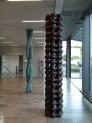 BIO - skulpturer Biocenter, Københavns Universitet. H. 280 Dia.30 cm. og H. 280 Dia.50 cm. 2010. Billedhugger Lone Høyer Hansen. Foto: Lone Høyer Hansen.  www.lonehoyerhansen.dk